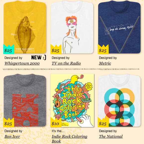 T Shirts Designed By Indie Rock Artists For Charity Sounds Cool To Me Check Out Whats On Offer At Yellow Bird Project