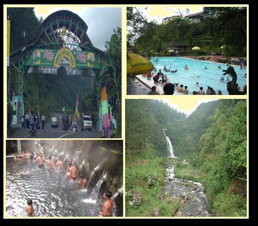 Pintu Gerbang,kolam renang, Pancuran air panas wisata Guci