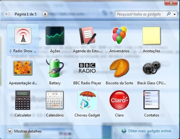 Gadget para Sidebar  Windows Vista e XP. Pack com 18 Gadgets