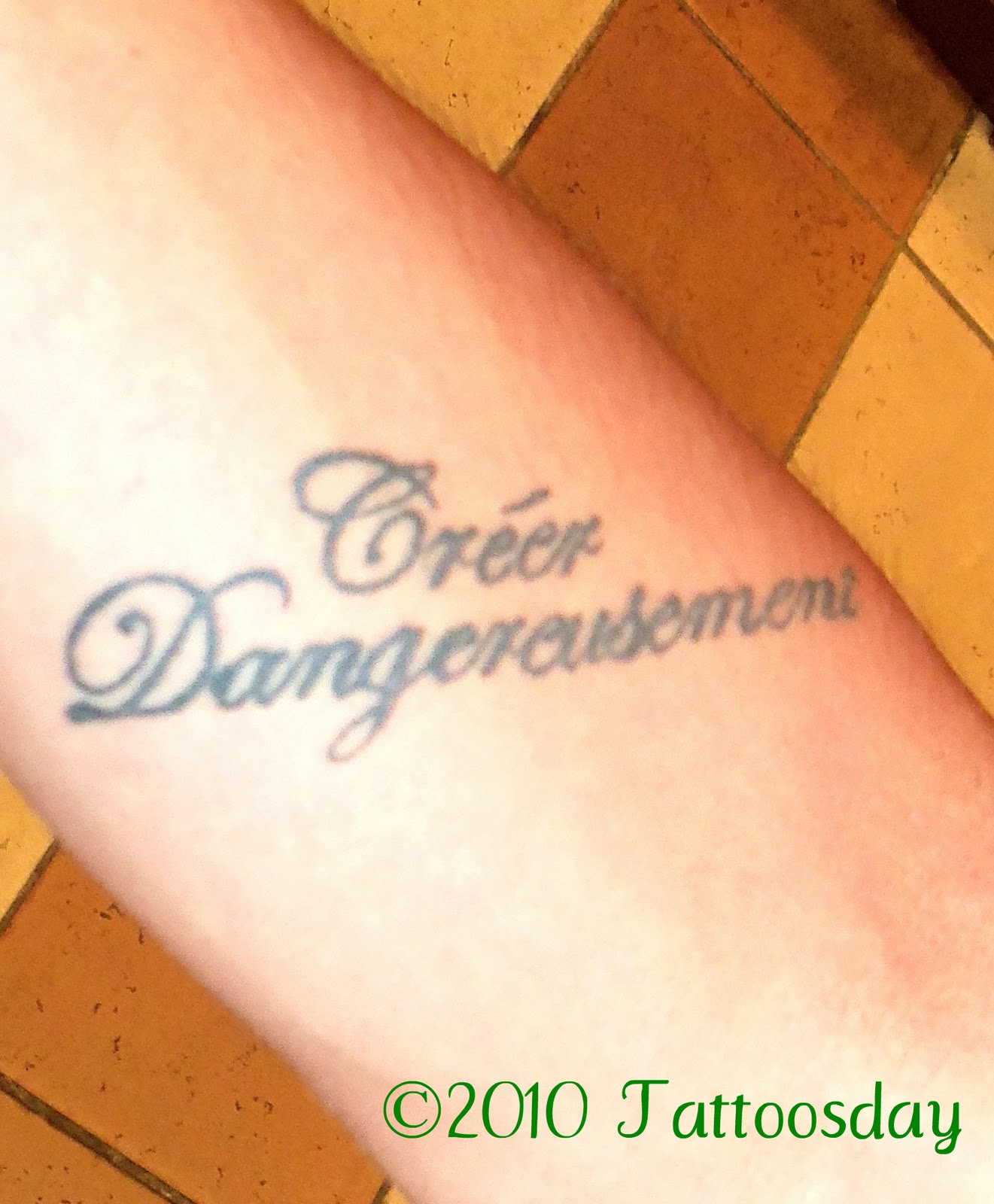 tattoosday a tattoo blog brian s ink speaks about art the words creacuteer dangereusement are the french title of a 1957 essay by albert camus entitled create dangerously this essay on realism and artistic