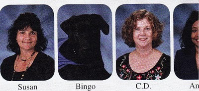 A picture of Bingo in the faculty section of the Berkeley Prep yearbood