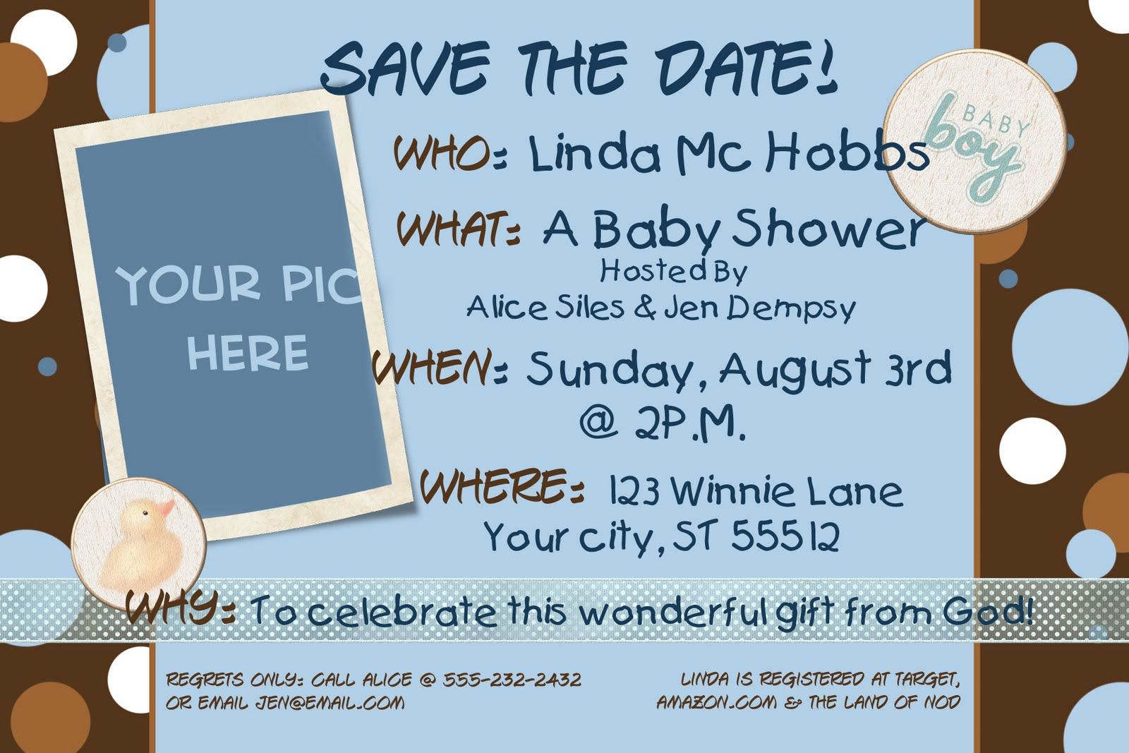 save the date bridal shower or baby shower invitation with photo