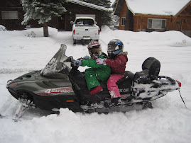 Addy and Lexi snowmobiling.