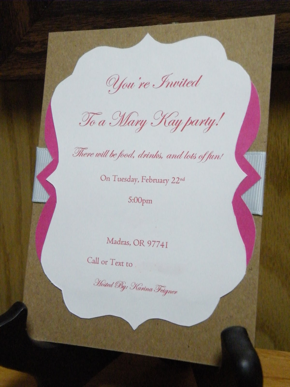 The Crafty Housewife Mary Kay Party Invite – Mary Kay Party Invitation