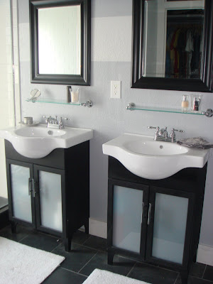 After simple bathroom vanity makeover, glass cabinet doors, opaque