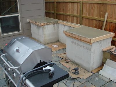 Outdoor concrete countertops after screeding
