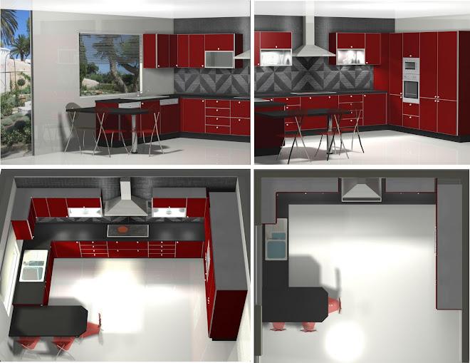 Diseño de cocina en rojo. Tienda Experts de Tanger