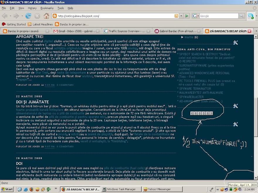 """Cu onor shi site-ul asta a atins 1/2 din """"numaru' fiarei"""" (contor 333) azi, 14 aprilie 2008"""