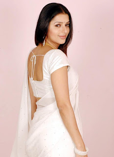 Bhoomika Chawla in white saree spicy photos