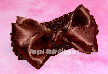 Brown Satin Bow w/detachable brown crochet headband