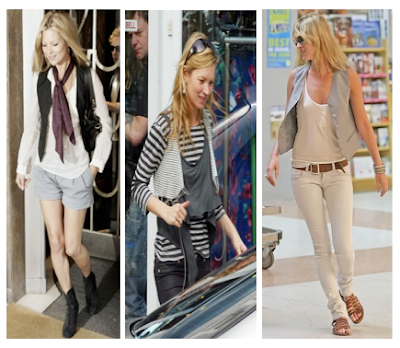 Looks Kate Moss con chalecos y superposiciones