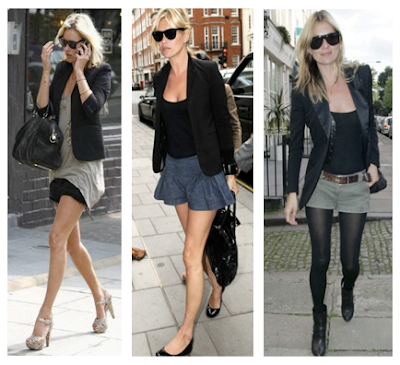 Looks Kate Moss con mini, mini shorts