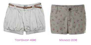 Shorts y bermudas: TopShop 49€ - Mango 20€