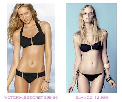 Comparativa precios bikinis para mucho pecho: Victoria's Secret $59,90 vs Blanco 12,99€