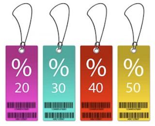 Imagen carteles de colores con porcentajes rebajas
