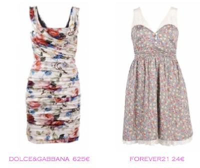 Comparativa precios: Vestidos print floral: Dolce&Gabbana 625E vs Forever21 24€