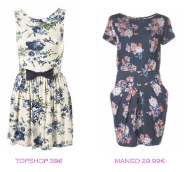 Comparativa precios: Vestidos print floral: TopShop 39€ vs Mango 29,99€