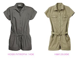Comparativa precios: Monoshorts tendencia militar: Hoss Intropia 140€ vs H&M 29,95€