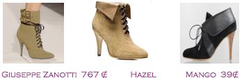 Comparativa precios 2010: Botines militares verano: Giuseppe Zanotti 767€ - Hazel - Mango 39€