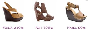 Comparativa precios 2010: Cuñas plataforma madera: Furla 240€ - Ash 195€ - Hazel 90€
