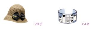 Lo más en marcas: Bimba y Lola: Borsalino mimbre, lazo azul marino 28€ y brazalete metacrilato 24€