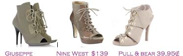 Comparativa precios 2010: Botines militares peep toe: Giuseppe Zanotti 790€ - Nine West $139 - Pull&Bear 39,95€