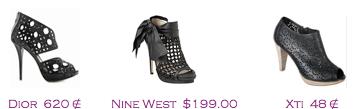 Comparativa precios 2010: Sandalias troqueladas: Dior 620€ - Nine West $199 - Xti 48€