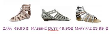 Comparativa precios 2010: Sandalias planas cordones: Zara 49,95€ - Massimo Dutti 49,95€ - Mary Paz 23,99€
