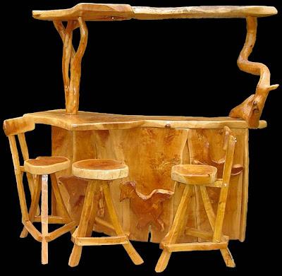 Mallun arbol sagrado letreros tallados y muebles for Bar rustico de madera