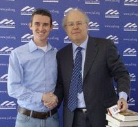 Bobby Hamill of the Wisconsin College Republicans with former White House advisor Karl Rove