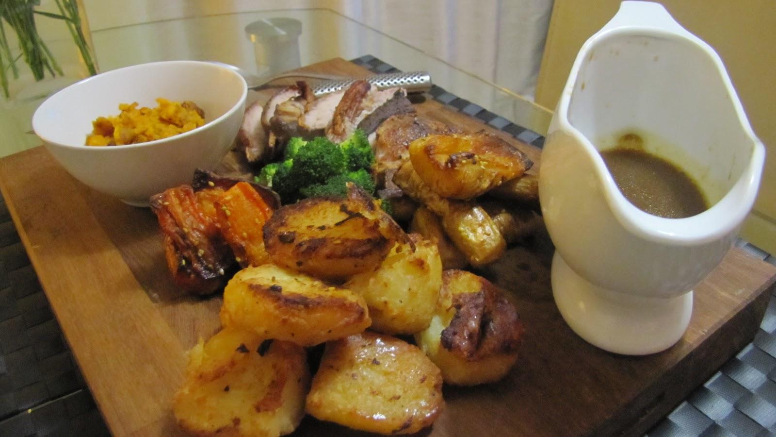 Crispy roast potatoes, honey and sesame roast carrots and parsnips ...