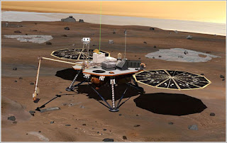 Concepción artística de la Phoenix en acción en Marte. Propiedad de la NASA