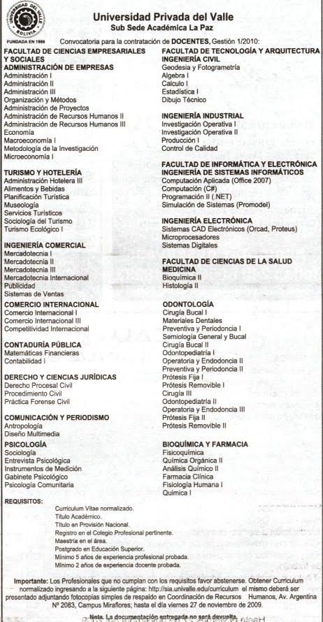 ... del Valle Convocatoria para la contratacion de Docentes Gestion 2010