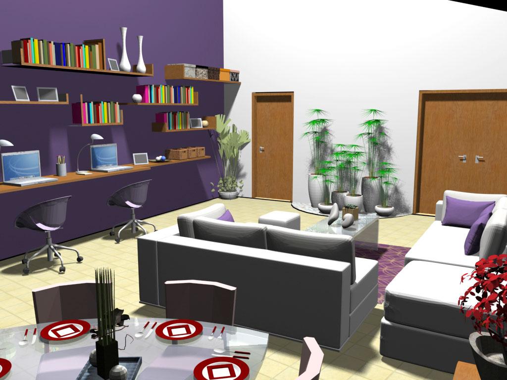 #763024 Sala de Estar e Jantar integradas com Área de Estudos. 1024x768 píxeis em Decoração Sala De Estar E Jantar Integradas