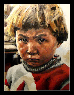 Little boy an Original oil painting by Santiago Michalek