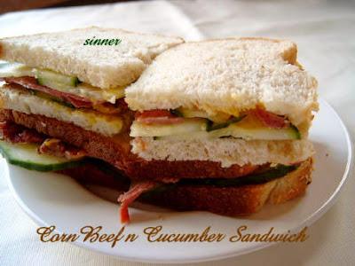 cornbeef n cucumber sandwich