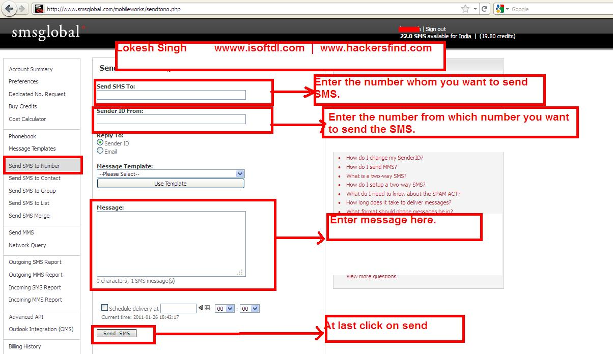 how to hack mobile,send free SMS,send anonymous sms
