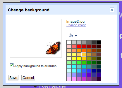 Add or change a background color fill pattern or background