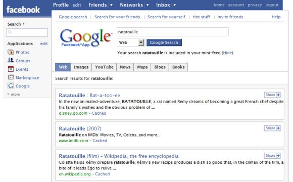 Facebook search app