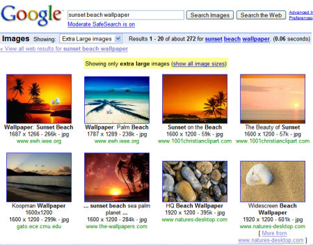 search images by size.  Live Search that lets you find images that have the same size as your