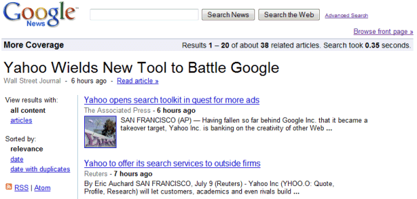 news. Google News clusters
