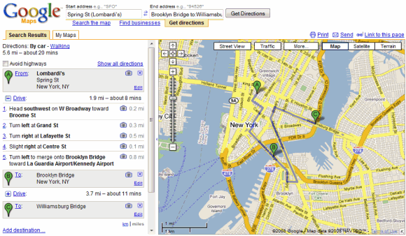 Google Maps Before the Redesign – Get Directions Maps Google