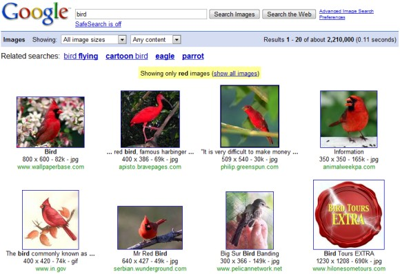 Google Image Search red