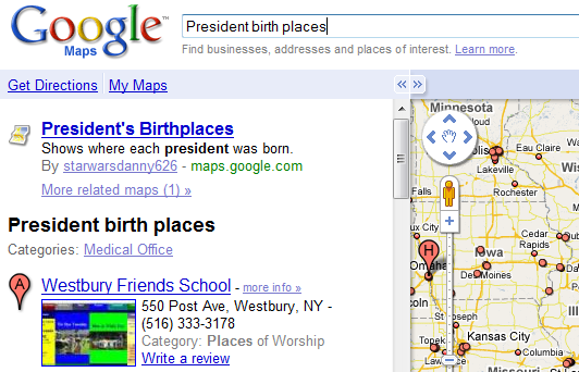 Until recently, Google Maps only pointed to items from custom maps and
