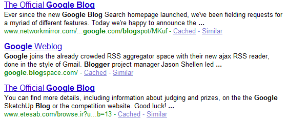 google blogspot. a search for [google blog]