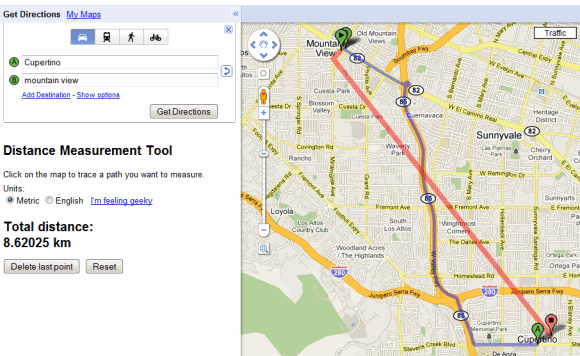 Distance Measurement in Google Maps Labs on