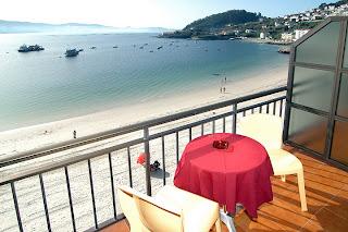 Terraza Hotel de playa cerca Sanxenxo Rias Bajas Galicia