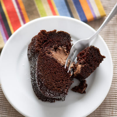 Dark Chocolate Red Wine Cake with Chocolate Cream Filling