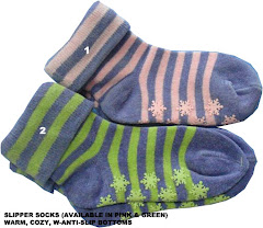 Slipper Socks (non-slip bottoms) in Pink or Green