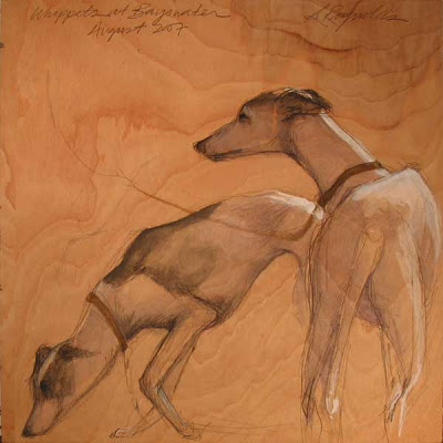 whippets sketch graphite and gouache on wood
